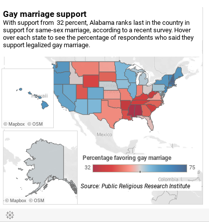 religious landscape study state oregon views about same marriage