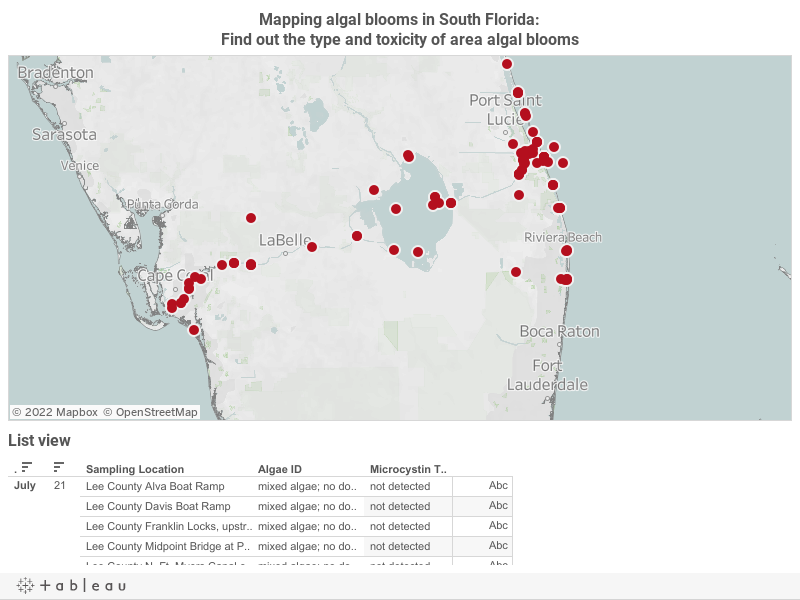 Interactive Map Of Florida.Interactive Map Shows Locations Types And Toxicity Levels Of Algal