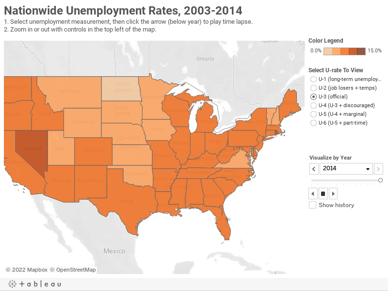 Nationwide Unemployment Rates, 2003-20141. Select unemployment measurement, then click the arrow (below year) to play time lapse.2. Zoom in or out with controls in the top left of the map.