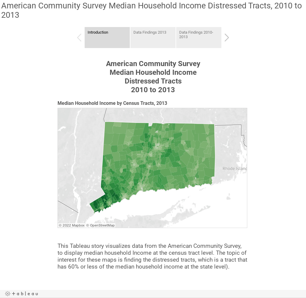 American Community Survey Median Household Income Distressed Tracts, 2010 to 2013