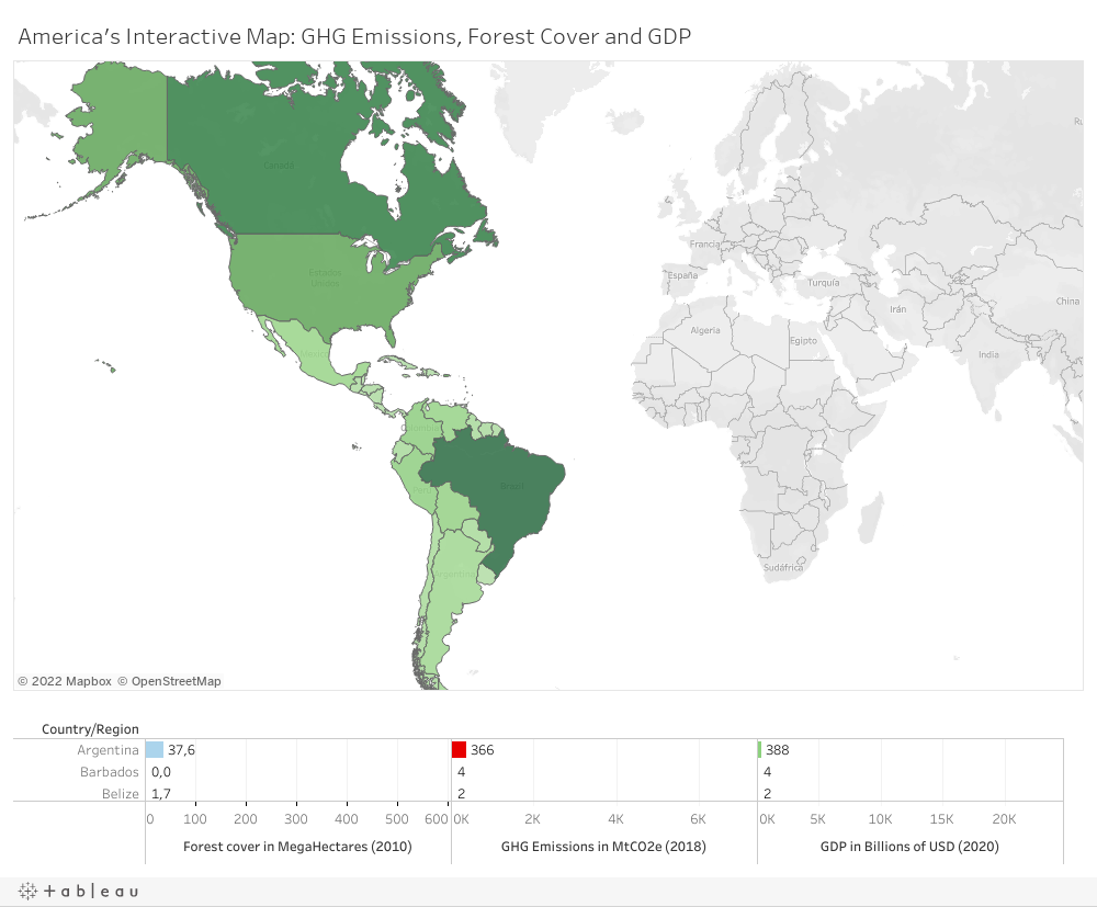 Americas Interactive Map: Emissions, Forest Cover and GDP