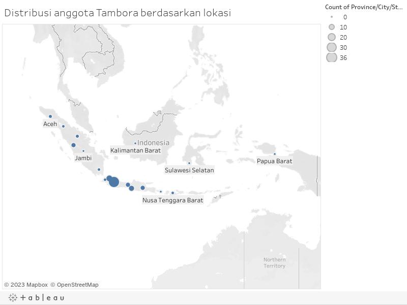 Distribusi anggota Tambora berdasarkan lokasi