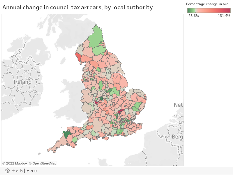 Annual change in council tax arrears, by local authority