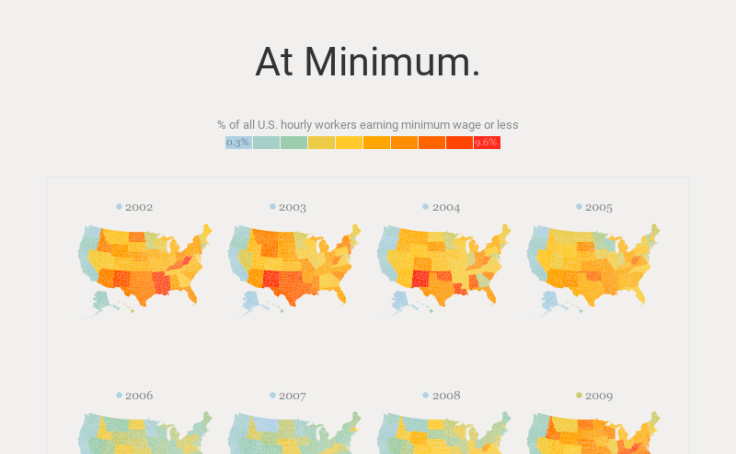 US Workers at or Below Minimum Wage Choropleth