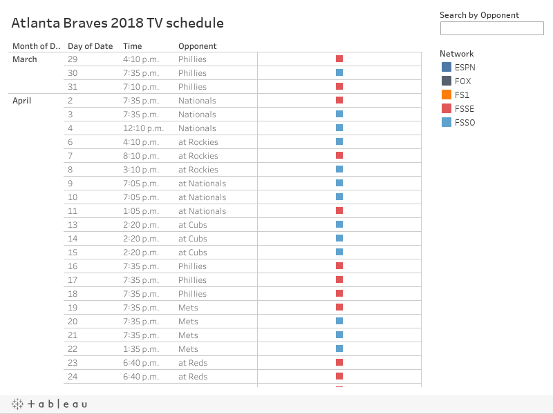 graphic regarding Atlanta Braves Schedule Printable named Atlanta Braves 2018 Tv set plan
