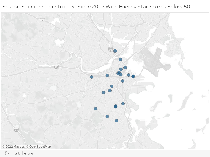 Boston Buildings Constructed Since 2012 With Energy Star Scores Below 50