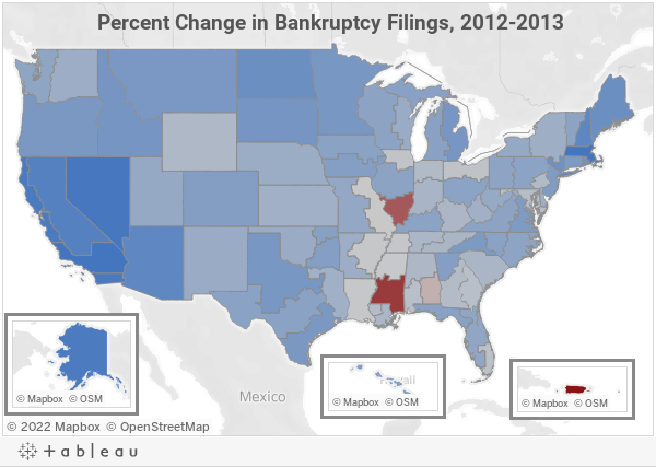 Percent Change in Bankruptcy Filings, 2012-2013