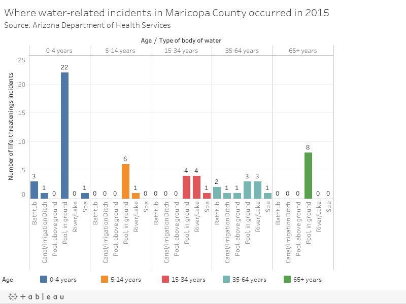 Body of water of life-threatening water-related incidents in Maricopa County in 2015Source: Arizona Department of Health Services