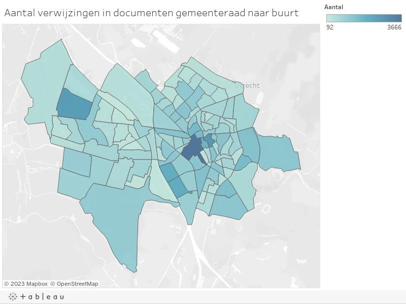 Aantal verwijzingen in documenten gemeenteraad naar buurt