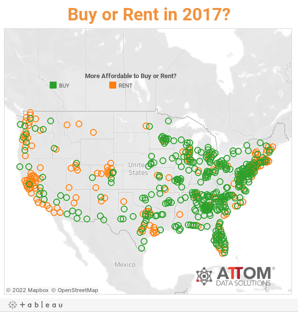 Buying More Affordable Than Renting In Percent Of US Housing - Us rental yield map