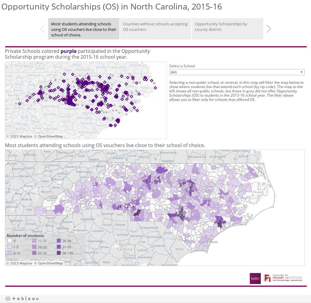 Opportunity Scholarships (OS) in North Carolina, 2015-16