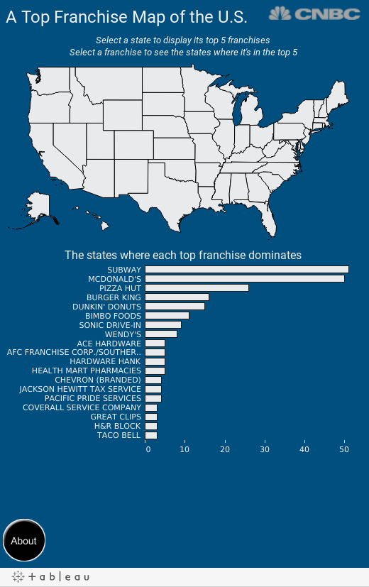 A Top Franchise Map Of The United States - Mcdonalds us map