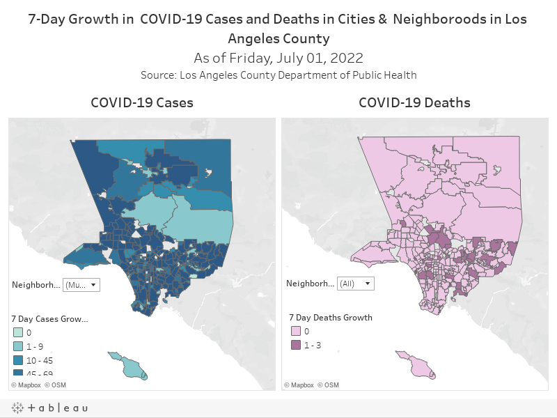 7-Day Growth in  COVID-19 Cases and Deaths in Cities &  Neighboroods in Los Angeles CountyAs of Friday, June 4, 2021Source: Los Angeles County Department of Public Health