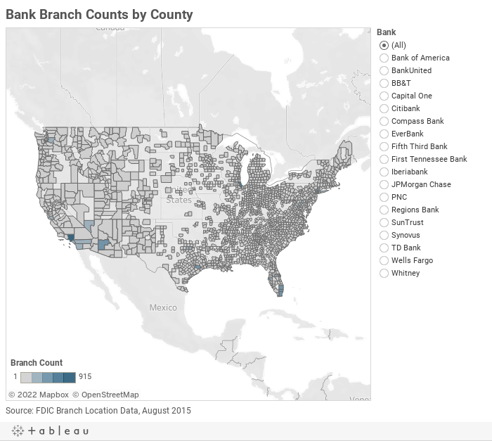 Bank Branch Counts by County