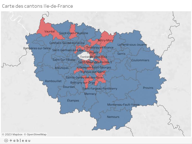 Carte des cantons Ile-de-France