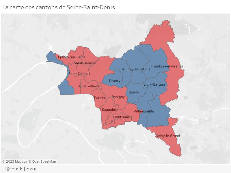 La carte des cantons de Seine-Saint-Denis