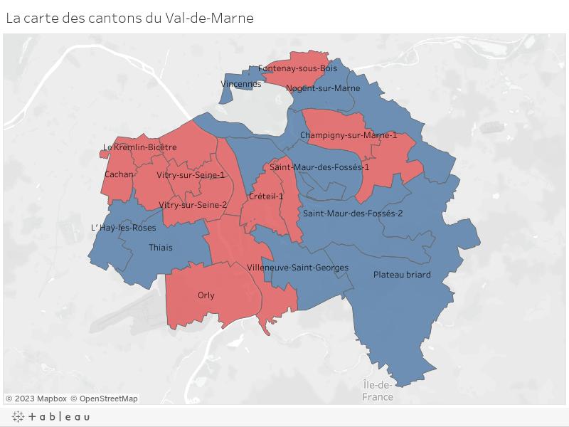La carte des cantons du Val-de-Marne