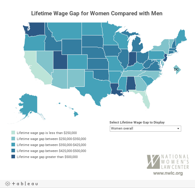 The Lifetime Wage Gap State By State NWLC - Us wage gap map