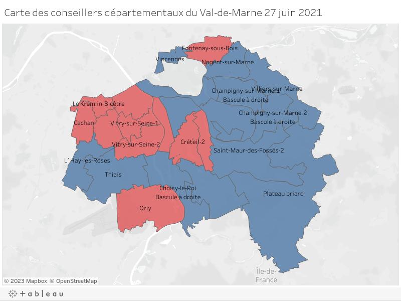 Carte des conseillers départementaux du Val-de-Marne 27 juin 2021