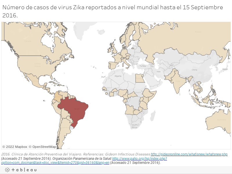 Número de casos de virus Zika reportados a nivel mundial hasta el 15 Septiembre 2016.