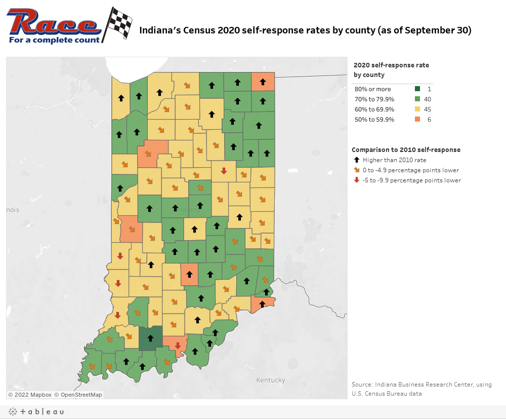 Interactive Indiana county map