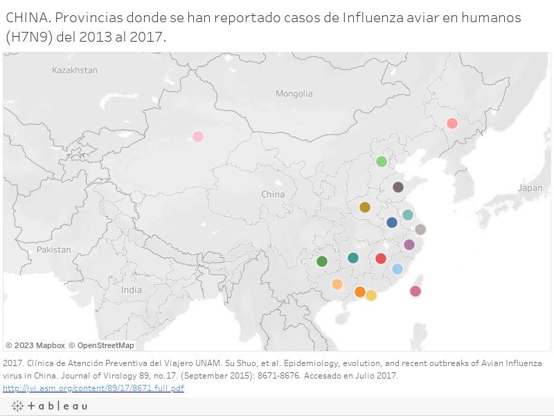 CHINA. Provincias donde se han reportado casos de Influenza aviar en humanos (H7N9) del 2013 al 2017.
