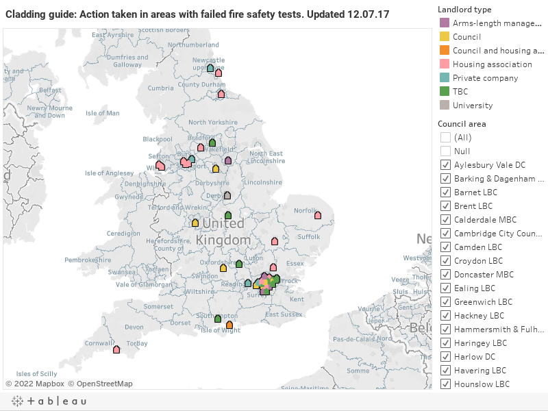 Cladding guide: Action taken in areas with failed fire safety tests. Updated 12.07.17