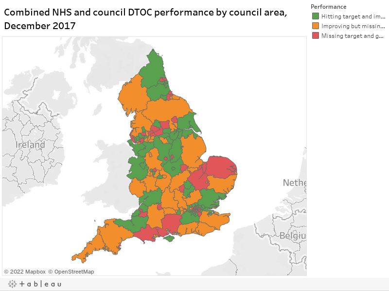 Combined NHS and council DTOC performance by council area, December 2017