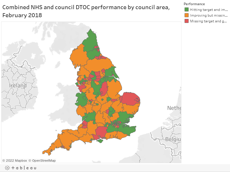 Combined NHS and council DTOC performance by council area, February 2018