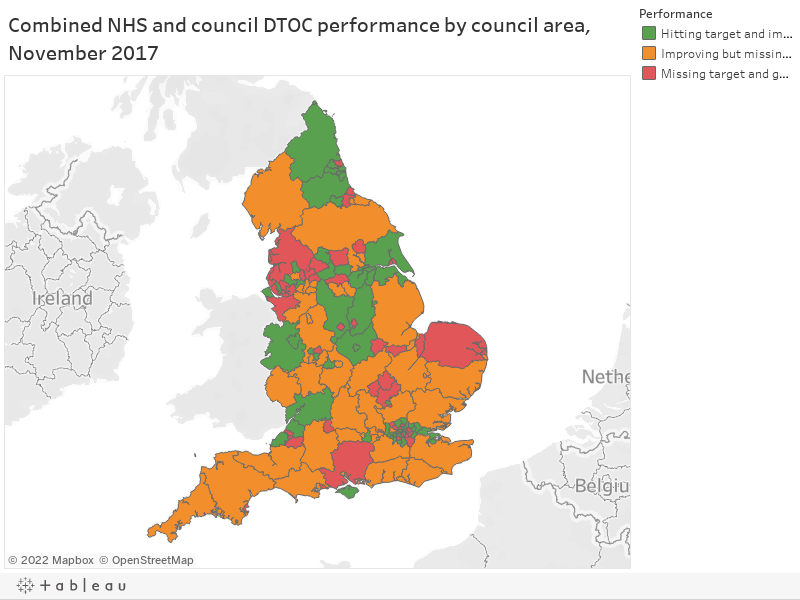 Combined NHS and council DTOC performance by council area, November 2017