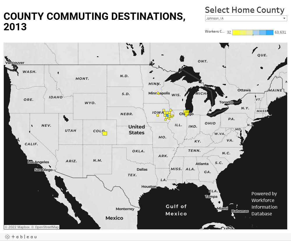 COUNTY COMMUTING DESTINATIONS, 2013