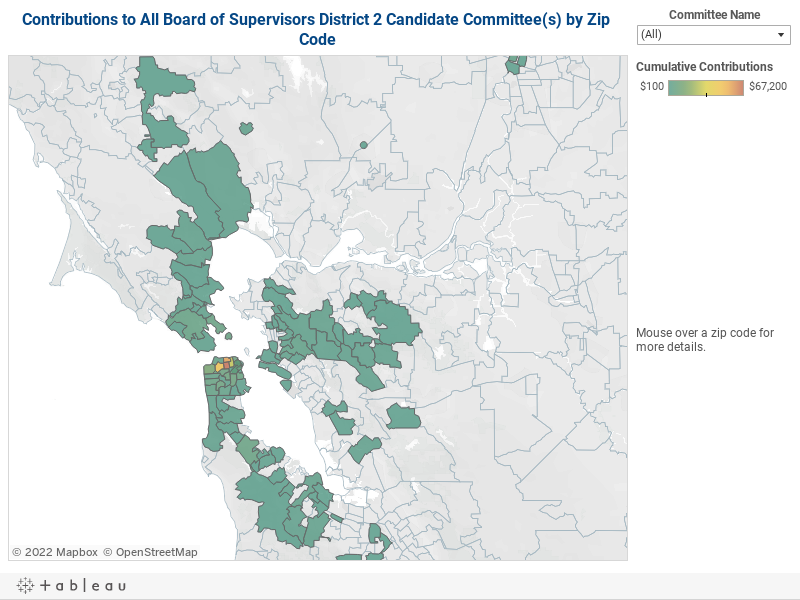 Contributions to Board of Supervisors District 2 Candidate Committees by Zip Code