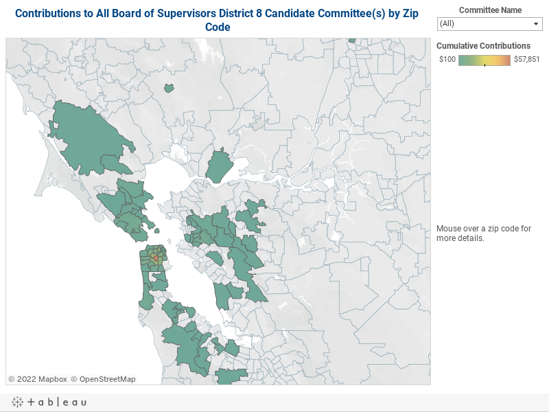 Contributions to Board of Supervisors District 8 Candidate Committees by Zip Code
