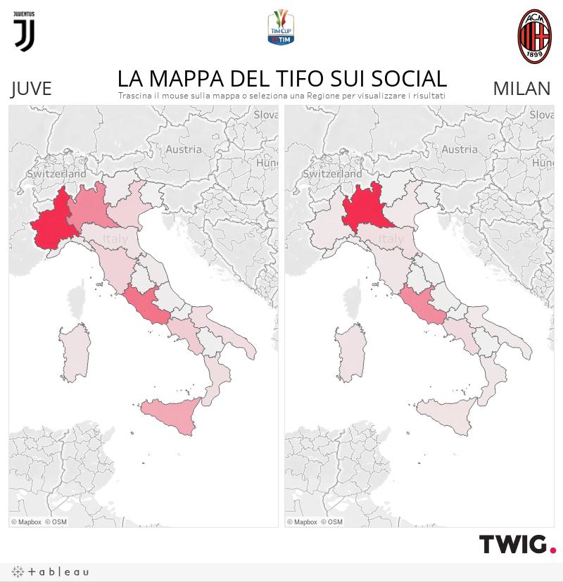 Mappa del tifo sui social