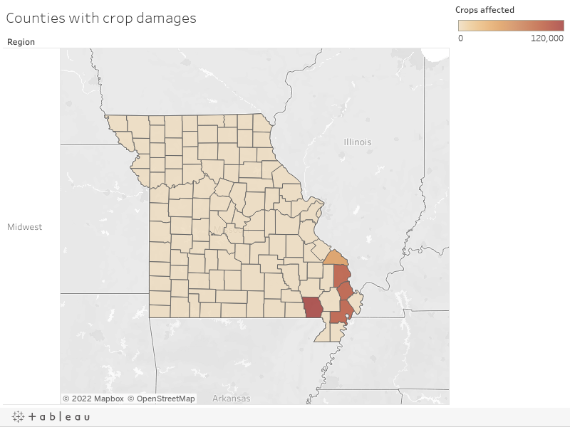 Counties with crop damages