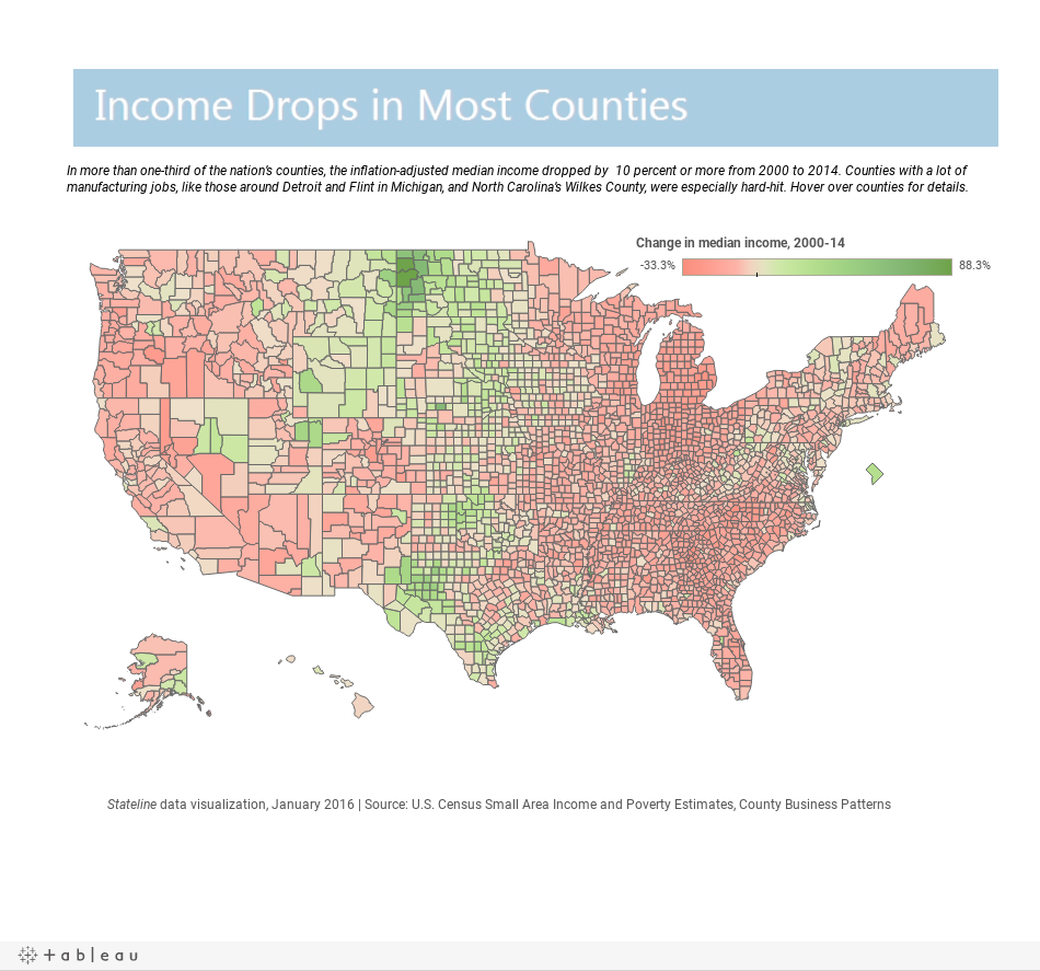 Fewer Manufacturing Jobs Housing Bust Haunt Many US Counties - Us counties by income