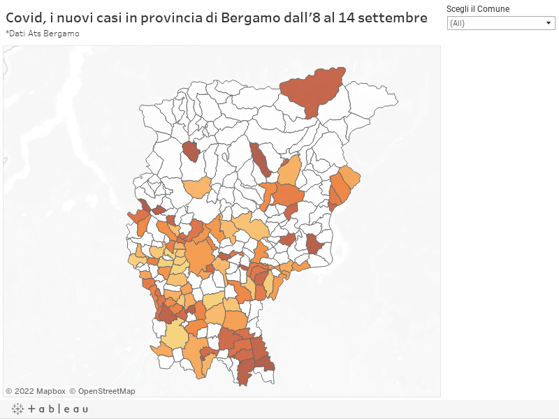 Covid, i nuovi casi in provincia di Bergamo dall'8 al 14 settembre*Dati Ats Bergamo