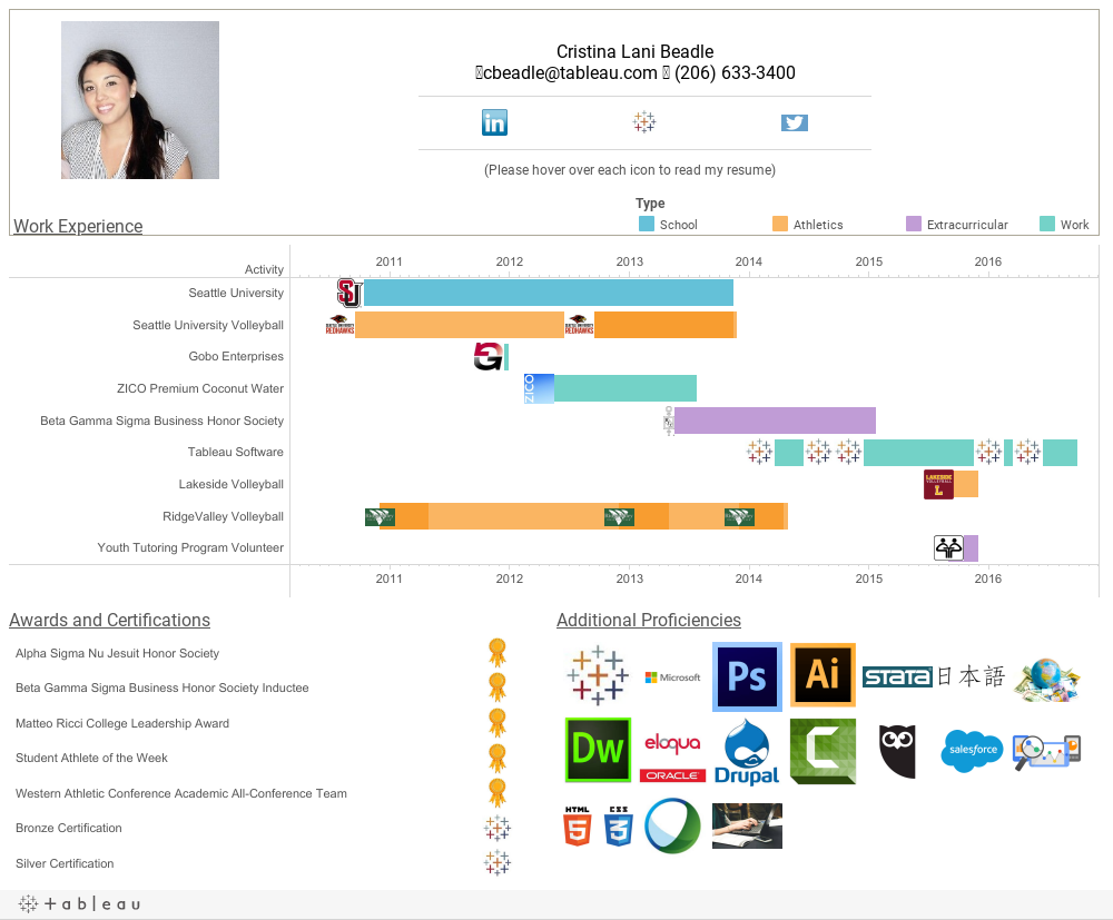 how to create an interactive resume in tableau tableau public