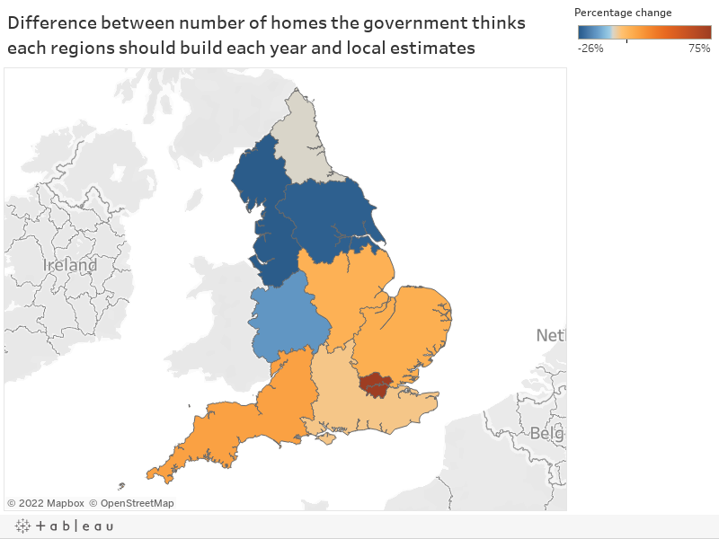 Difference between number of homes the government thinks each regions should build each year and local estimates