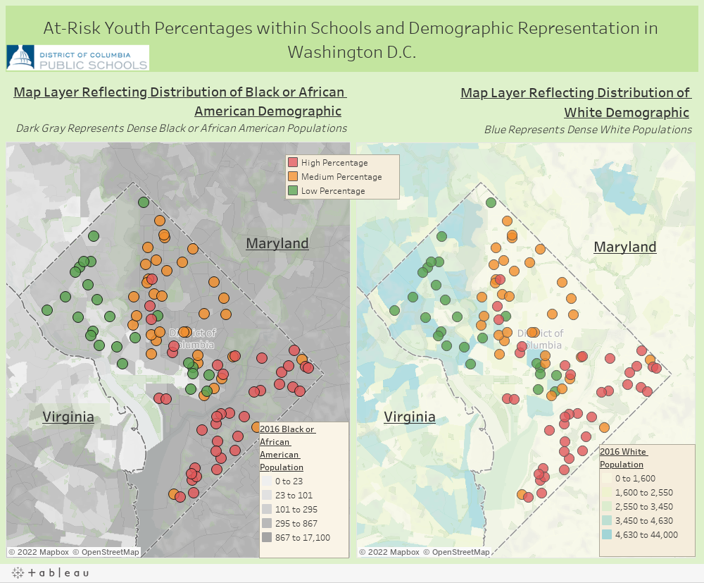 At-Risk Youth Percentages within Schools and Demographic Representation in Washington D.C.