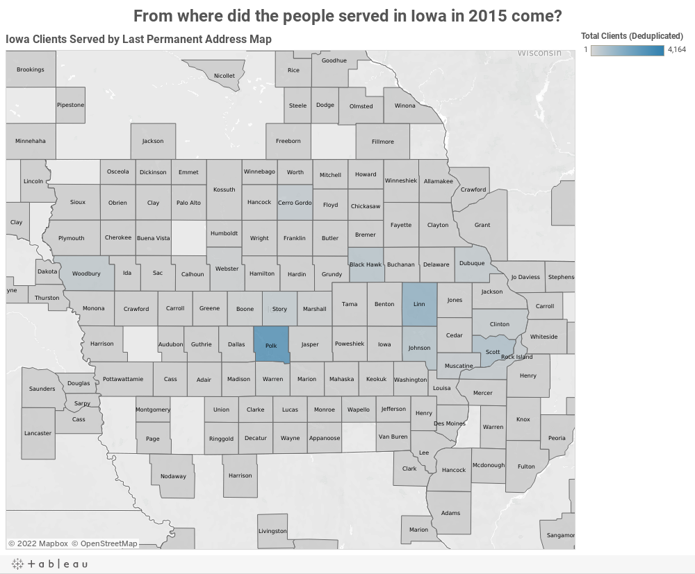 From where did the people served in Iowa in 2015 come?