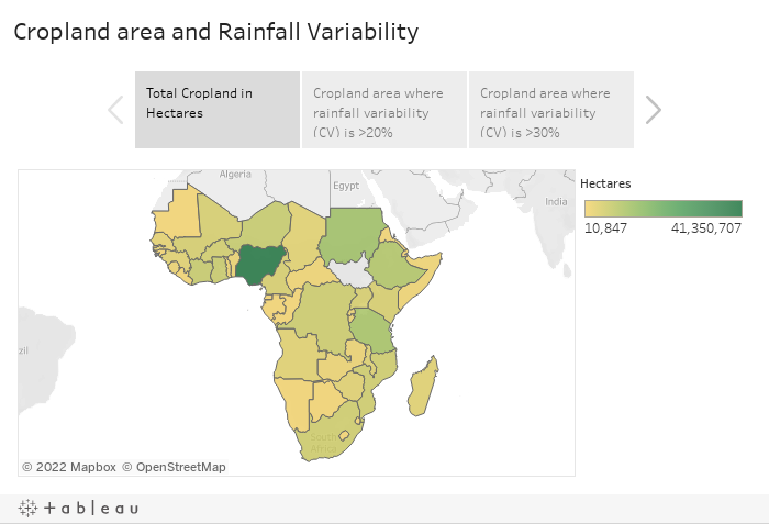 Cropland Area Rainfall in Africa