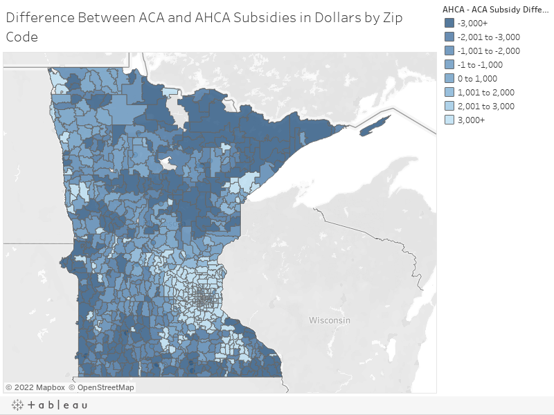 Difference Between ACA and AHCA Subsidies in Dollars by Zip Code