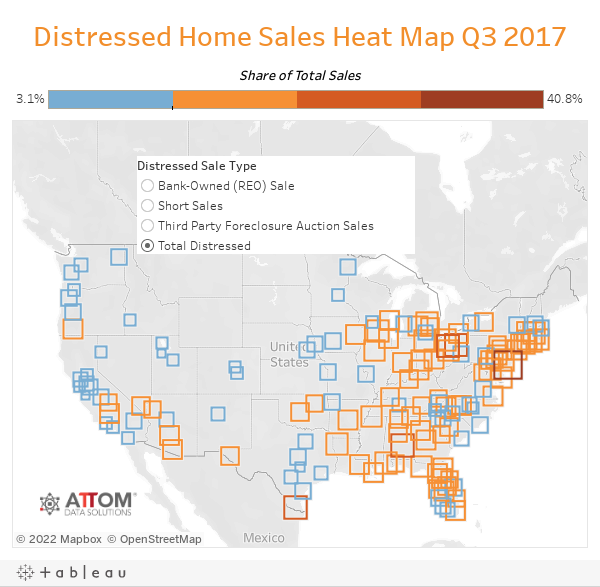 Distressed Home Sales Heat Map Q3 2017