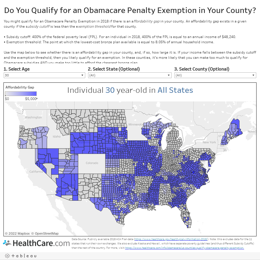 Do You Qualify for an Obamacare Penalty Exemption in Your County?