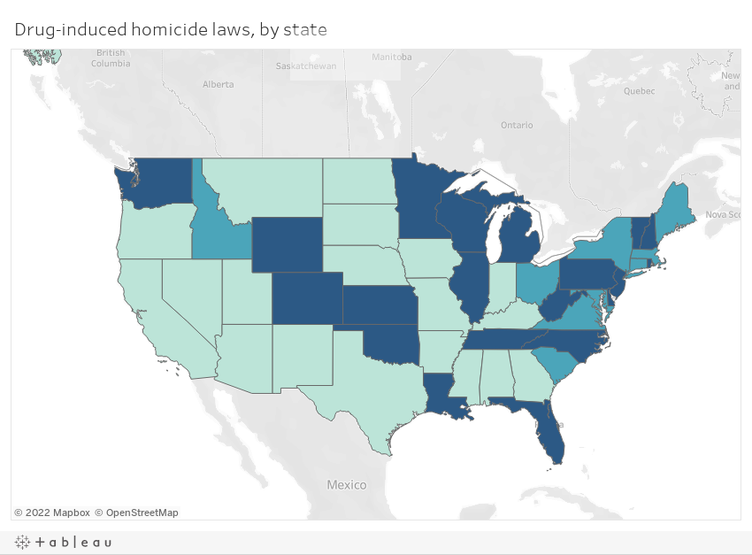 Drug-induced homicide laws, by state