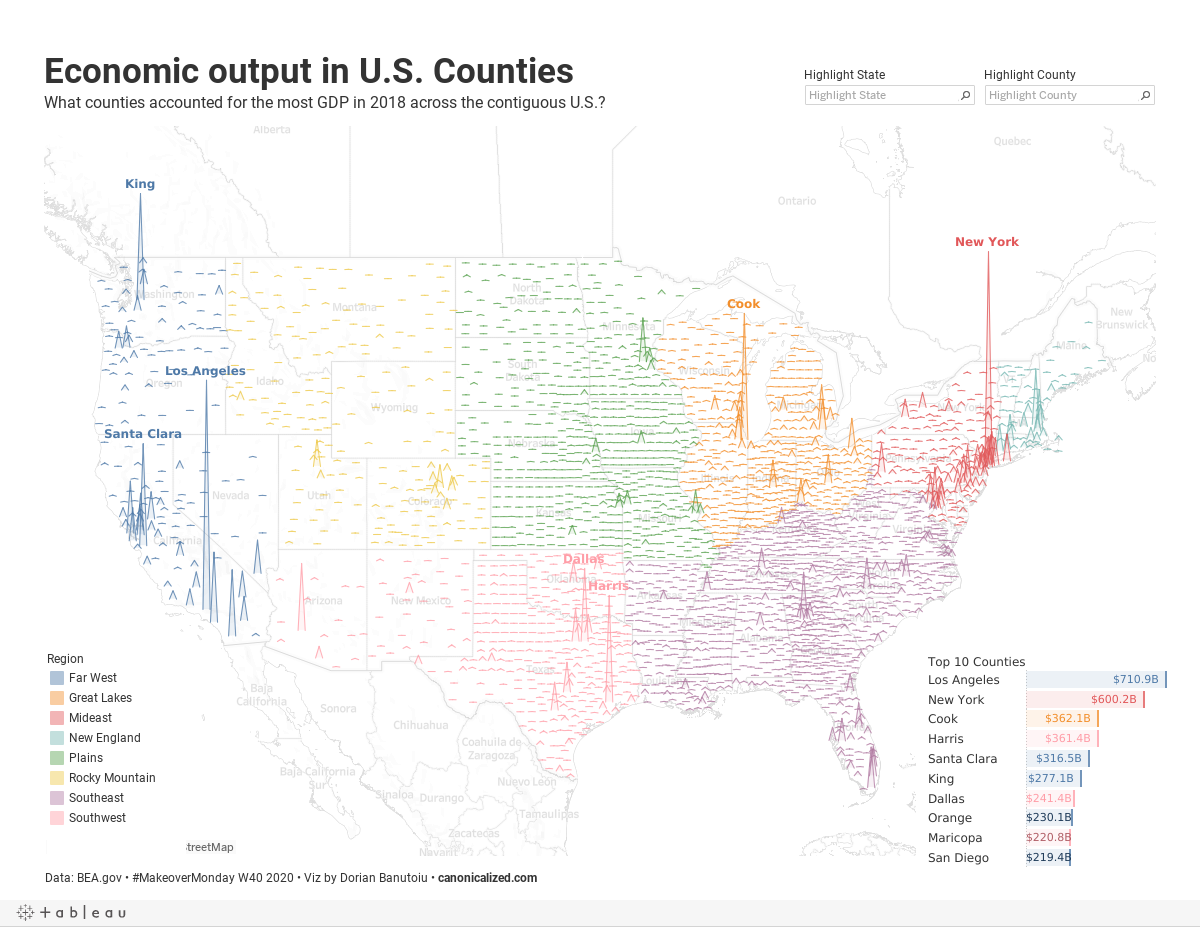 Alternatywa dla tradycyjnej mapy - PKB amerykańskich powiatów