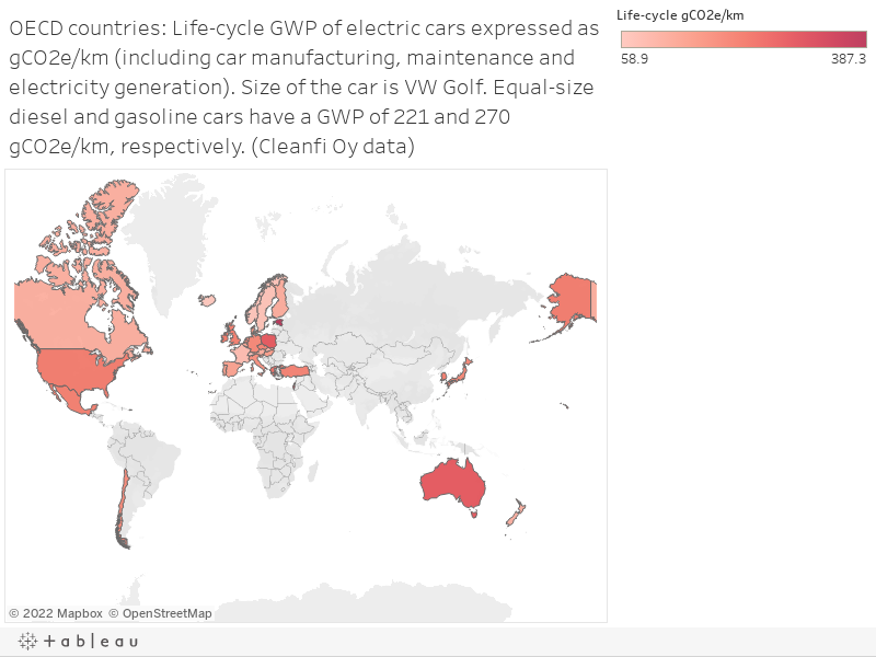 OECD countries: Life-cycle GWP of electric cars expressed as gCO2e/km (including car manufacturing, maintenance and electricity generation). Size of the car is VW Golf. Equal-size diesel and gasoline cars have a GWP of 221 and 270  gCO2e/km, respectively.