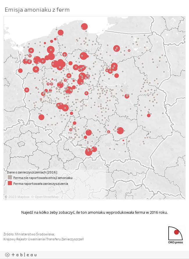 Emisja amoniaku - mapa