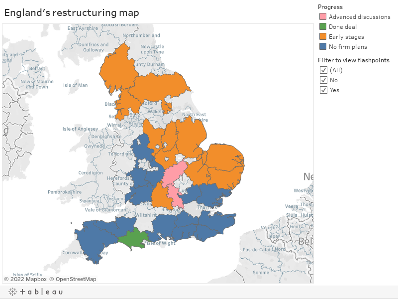 England's restructuring map